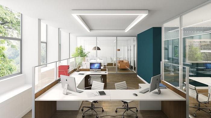 Kancelářský nábytek v pastelových barvách