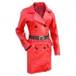 Červený dámsky kabát